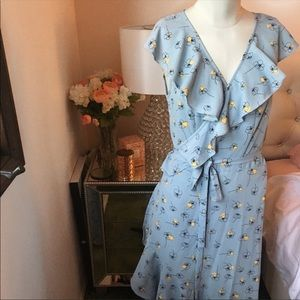 NWOT Max Studio Blue Wrap Dress Size M